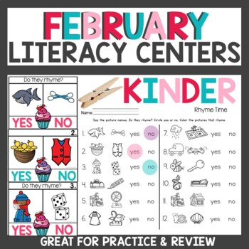 February Literacy Centers Kindergarten