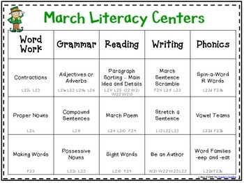 March Literacy Centers Menu {Common Core Aligned} Grade 2