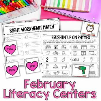 February Literacy Centers for Kindergarten