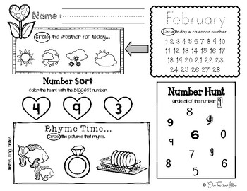 February Daily Literacy & Math Morning Work {Pre-K & Kindergarten} No Prep!
