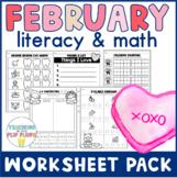 February Literacy & Math Worksheet Pack