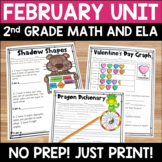 February Literacy and Math:  No Prep Printables for 2nd Gr