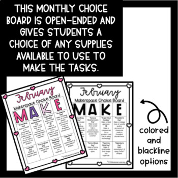 February Makerspace STEM Choice Board