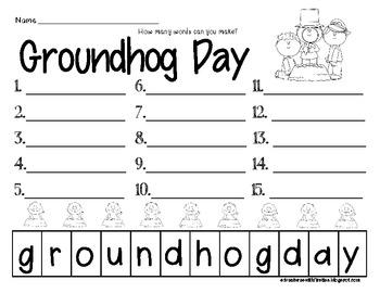 February Making Words Worksheets