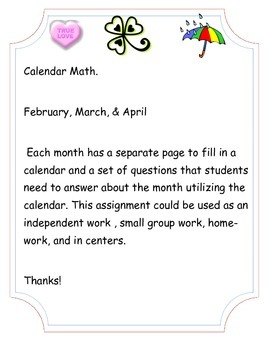 February, March, & April Calendar Math