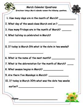 February, March, & April Calendar Math