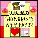 February Matching and Vocabulary, Autism, ABA