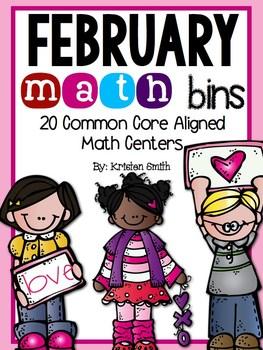 February Math Bins- 20 Common Core Aligned Math Centers