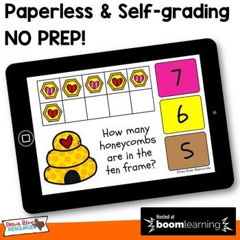 February Math Boom Cards | Ten Frames Kindergarten TEKS