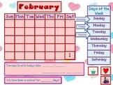 February Math Calendar for Mimio Board