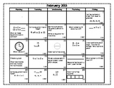 February Math Calendar
