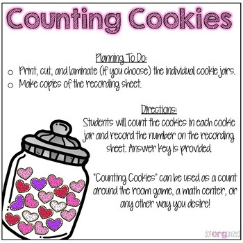 Counting to 20 Cookie Kindergarten February Math Center