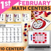 February Math Centers for 1st Grade | Valentine's Day Activities