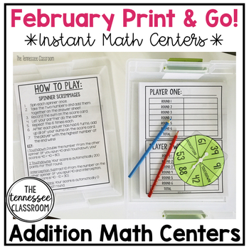 Math Centers: February Addition Spinner and Dice Games