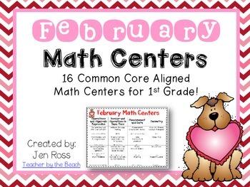 February Math Centers Menu {Common Core Aligned} Grade 1