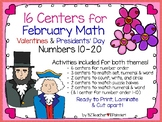 February Math Centers for Numbers 10-20 - Valentines & Pre