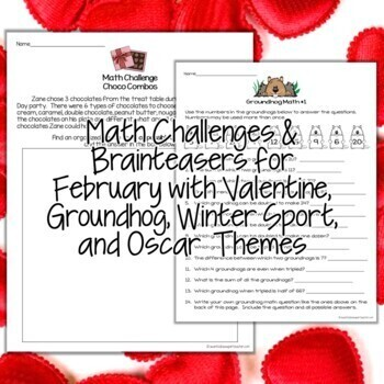 Valentine's Day Math Activities   2nd & 3rd Grade Math Challenges for February