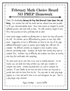 Math Homework Time and Money, NO PREP