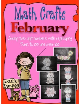 February Math Crafts Adding 2-digit Numbers with Regroupin