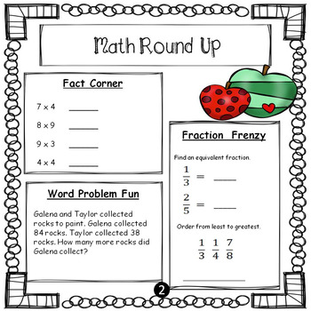 *No PREP* February 4th Grade Math Daily Review Warm Up Common Core Aligned