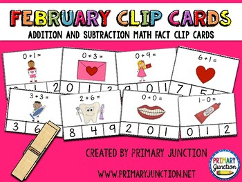 February Math Fact Clip Cards: Addition and Subtraction to 10