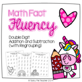 Unicorn Math Fluency Pack | Double Digit Addition & Subtraction with Regrouping