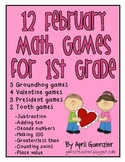 February Math Games for 1st – Groundhog, Valentine, Presid