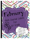 February Math Journal Labels ~ CCSS Aligned