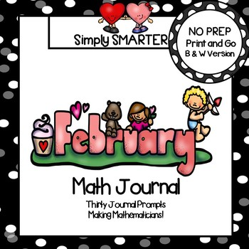 February Math Journal:  NO PREP Journal Prompts