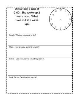 February Math Journal - Read Plan Solve Look Back Template