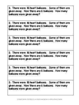 February Math Journal Word Problems for 1st Grade
