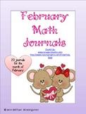 February Math Journals Kindergarten