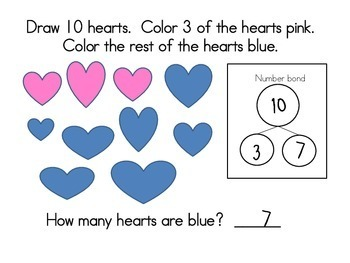 February Math Journals with Number Bonds: Kindergarten