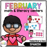 February Math & Literacy Centers in Spanish