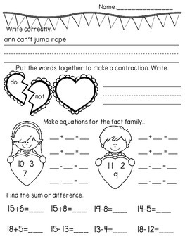 February Math & Literacy No Prep Daily Review