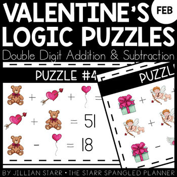 February Math Logic Puzzles- Double Digit Addition and Subtraction