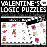 February Math Logic Puzzles- Double Digit Addition and Sub