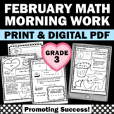 3rd Grade Valentines Day Math Worksheets, No Prep February Morning Work