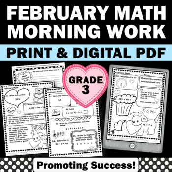 3rd Grade Valentines Day Math Worksheets No Prep February Morning Work