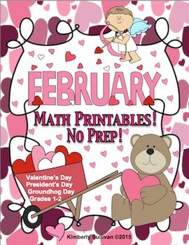 Valentine's Day Groundhog Day Math Printables!   No Prep Grades 1-2