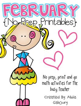 February Math No Prep Printables