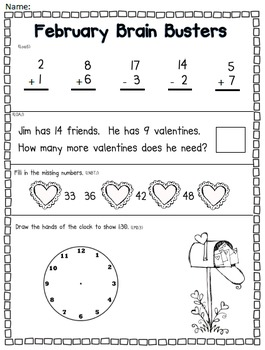 February Math Pack (1st Grade Common Core)