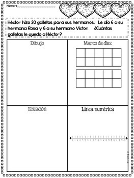 February Math Practice in Spanish FIRST GRADE