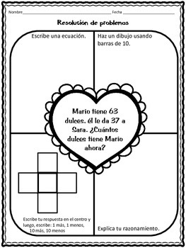 February Math Practice in Spanish for SECOND GRADE
