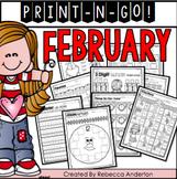 February Math Print N' Go 2nd Grade