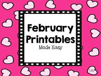 February Math Printables Made Easy