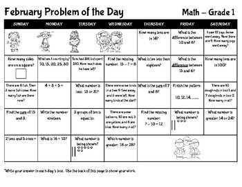 February Math Problem of the Day - Grade 1