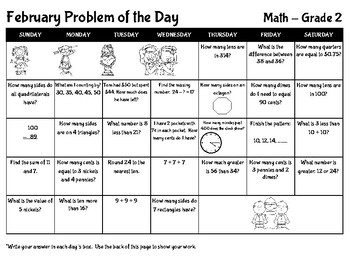 February Math Problem of the Day - Grade 2