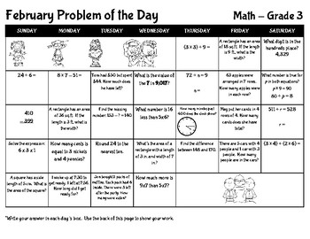 February Math Problem of the Day - Grade 3