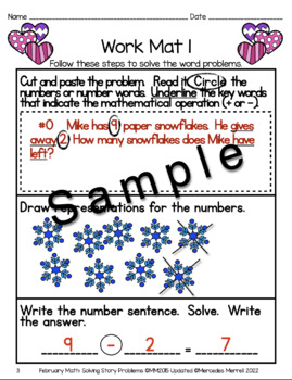 February Math:  Solving Story Problems Addition & Subtraction Within 20